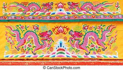 金色, 织品, 汉语, 结构, 龙, 花