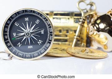 金色, 财富, 概念, 股票, 钱, 策略, 权力, 从事贸易, 钥匙, 计划, 投资, 富有, 方向, 决定, 商业, 成功, 建议, fortune., 定位, 指南针, 顾问, 引导, 视力