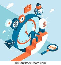 金融の成功, ビジネス, 上昇, 階段, 人