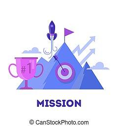 金融の目標, ビジネス, concept., 考え, チーム, mission.