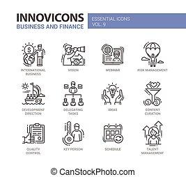 金融, アイコン, 現代 ビジネス, pictograms, デザイン, 薄いライン