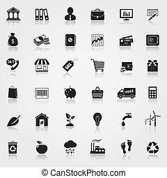 金融, エコロジー, 買い物, セット, アイコン