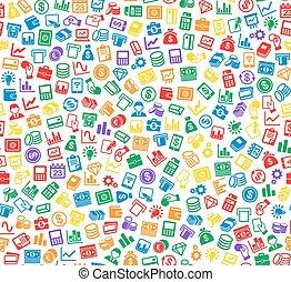 金融, ビジネスの色, pattern., seamless, icons., ベクトル, 背景