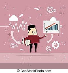 金融, ビジネス, グラフ, 提示, チャート, アジア人, レポート, 人