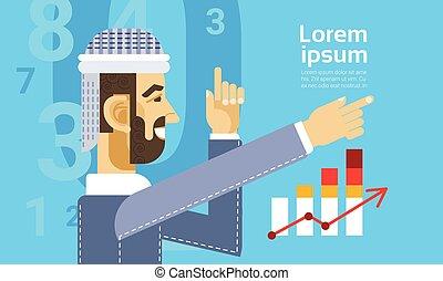 金融, ビジネス, グラフ, 提示, チャート, アラビア人, レポート, 人