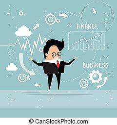 金融, ビジネス, グラフ, 提示, チャート, レポート, 人
