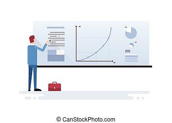 金融, ビジネス, グラフ, 提示, チャート, 人