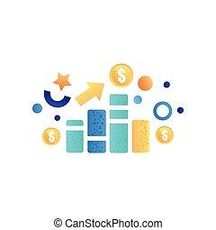 金融, ビジネス, マーケティング, シンボル, グラフ, 作戦, ベクトル, イラスト, 背景, 白, 管理