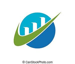 金融, ビジネス, 矢, ベクトル, ロゴ, template.