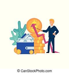 金融, ビジネス, explaing, strategy., 成長, 人