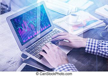 金融, レポート, そして, 投資, 概念