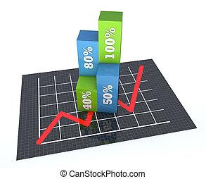 金融, 商业, 图表, 同时,, 图表