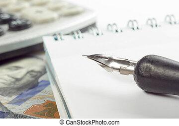 金融, 會計, 證券市場, 分析, 人物面部影像逼真, 鋼筆, 信用卡, 錢
