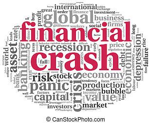 金融, 白色, 概念, 撞毁