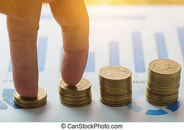 金融, 資本, 銀行業, そして, 会計, 成長, 概念, 指, ステップ, 上に, お金, コイン, staced, 上に, ペーパー, グラフ