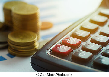 金融, 資本, 銀行業, そして, 会計, 概念, コイン, そして, 計算機, 上に, ペーパー, グラフ
