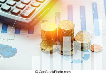 金融, 資本, 銀行業, そして, 会計, 概念, コイン, 上に, ペーパー, グラフ, ∥で∥, 計算機, 机