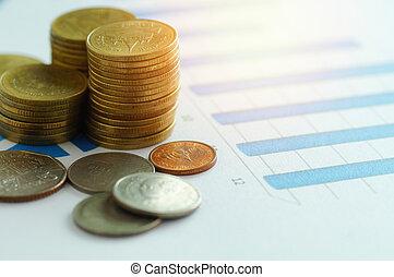 金融, 資本, 銀行業, そして, 会計, 概念, コイン, 上に, ペーパー, グラフ