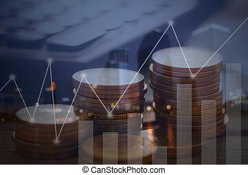 金融, 資本, 銀行業, そして, 投資, 概念, ダブル, exporsure, 積み重ねられた, の, コイン, そして, 夜, 都市, ∥で∥, グラフ