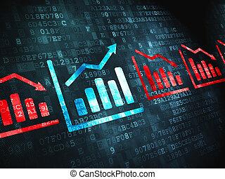 金融, concept:, グラフ, 上に, デジタルバックグラウンド
