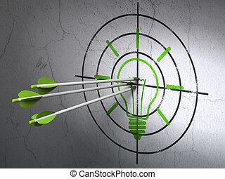 金融, concept:, 矢, 中に, 電球, ターゲット, 上に, 壁, 背景