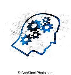 金融, concept:, 頭, ∥で∥, ギヤ, 上に, デジタルバックグラウンド