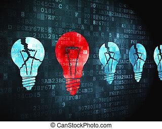 金融, concept:, lightbulb, 上に, デジタルバックグラウンド