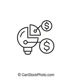 金融, illustration., 签署, concept., 符号, 矢量, 组织, 线, 图标, 结构, 线性