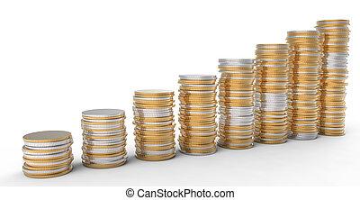 金融, progress:, 黃金, 以及, 銀, 硬幣, 堆