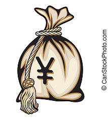 金錢 袋子, 由于, 日元 標誌, 矢量, illu