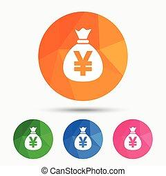 金錢 袋子, 簽署, icon., 日元, jpy, currency.