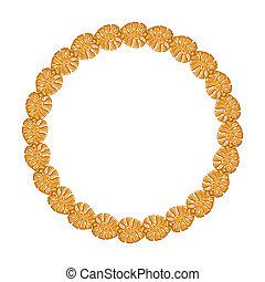 金鏈子, 框架, -, 背景。, 白色, 輪