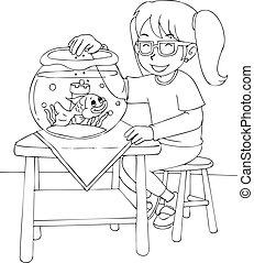 金魚, 女の子, 着色料, ページ