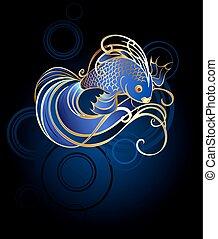 金魚, 青い背景