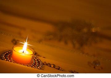 金黃 背景, 由于, 浪漫, 蜡燭光