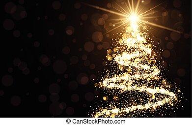金黃 背景, 由于, 聖誕節, 樹。