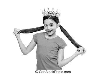 金, かわいい, 王冠, 夢を見ること, princess., 女の子, わずかしか, エリート, concept., 皇族, upbringing., 特典, 開発, 女, シンボル, あらゆる, ウエア, 子供, 女性, 子供, 学校, なる