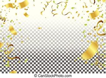 金, きらめき, 金, 抽象的, 隔離された, ベクトル, 紙ふぶき, 背景, confetti., 祝福, 透明, 焦点がぼけている