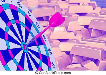 金, さっと動きなさい, 金塊, ターゲット, ダート盤, 赤, ビジネス, 矢, バックグラウンド。