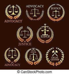 金, アイコン, heraldic, advocacy, ベクトル, 弁護士, ∥あるいは∥