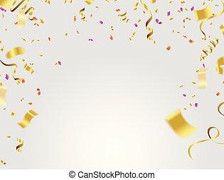 金, イラスト, バックグラウンド。, ベクトル, リボン, 紙ふぶき, 落ちる, 透明, celebration.