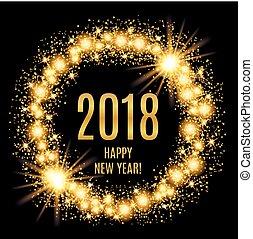 金, イラスト, バックグラウンド。, 白熱, ベクトル, 2018, 年, 新しい, 幸せ