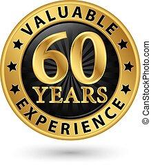 金, イラスト, ラベル, 貴重である, 60, ベクトル, 年, 経験