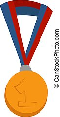 金, イラスト, 白, メダル, ベクトル, バックグラウンド。