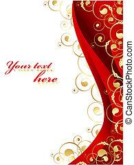 金, イラスト, 飾られる, フレーム, 赤