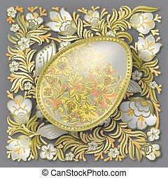 金, イースターエッグ, 上に, 花, 装飾
