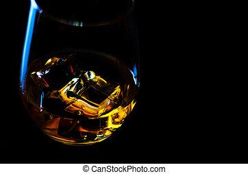 金, ウイスキー, 色, 氷, ガラス, スコットランド, 立方体, ウイスキー