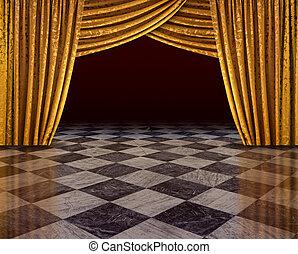 金, カーテン, ステージ