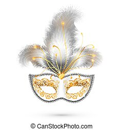 金, カーニバル, 羽, マスク, 装飾, 現実的, 白, きらめき, 銀
