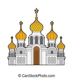 金, キリスト教徒, 正統, isolated., イラスト, 伝統的である, ロシア人, ベクトル, 教会, temple., domes.